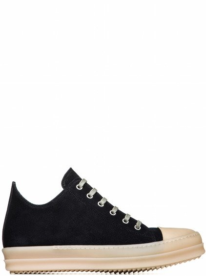 RICK OWENS RUBBER LOW SNEAKERS IN FADED BLACK CALF LEATHER
