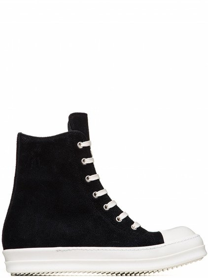 RICK OWENS SNEAKERS IN FADED BLACK CALF LEATHER