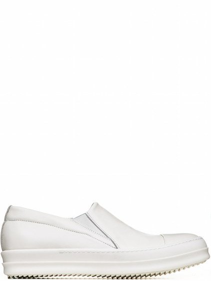 RICK OWENS BOAT SNEAKERS IN MILK WHITE CALF LEATHER