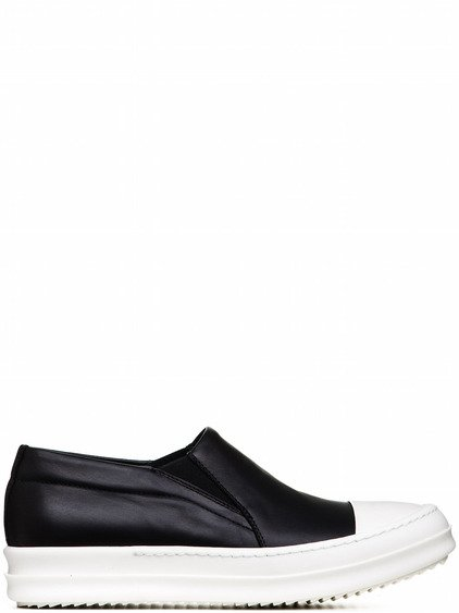 RICK OWENS BOAT SNEAKERS IN BLACK CALF LEATHER