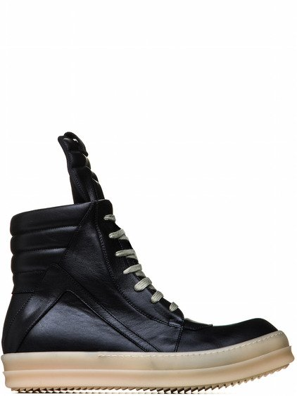 RICK OWENS GEOBASKET IN BLACK CALF LEATHER