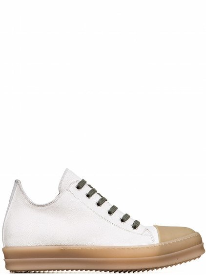 RICK OWENS RUBBER LOW SNEAKERS IN NATURAL WHITE CALF