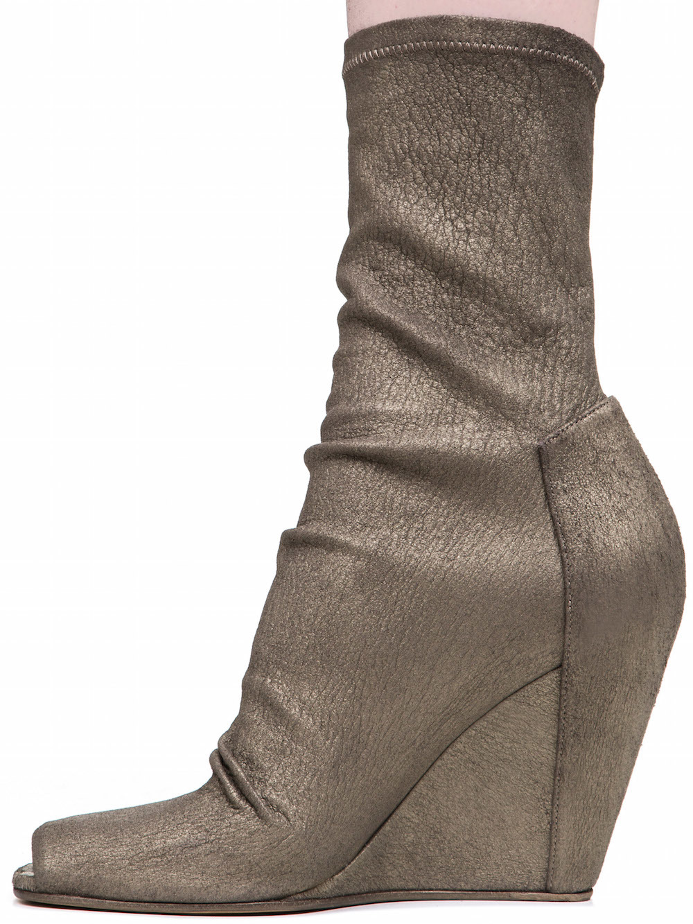 RICK OWENS SOCK WEDGES IN METTALIC DUST GREY STRETCH LAMB LEATHER
