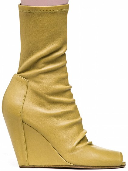 RICK OWENS SOCK WEDGES IN ACID YELLOW STRETCH LAMB LEATHER