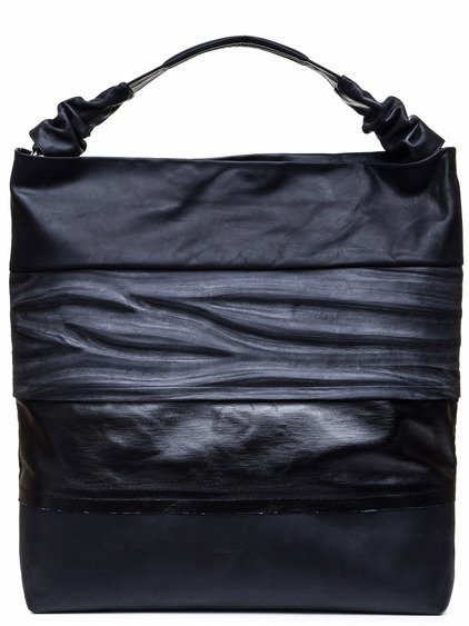 RICK OWENS GLITTER MEGA ADRI BAG IN BLACK DARK STRIPES