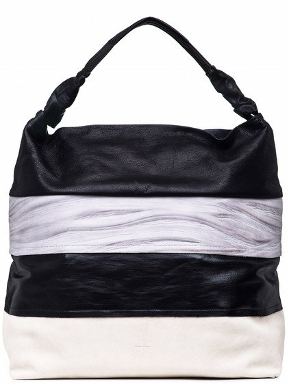 RICK OWENS GLITTER JUMBO ADRI BAG IN BLACK AND WHITE LIGHT STRIPES