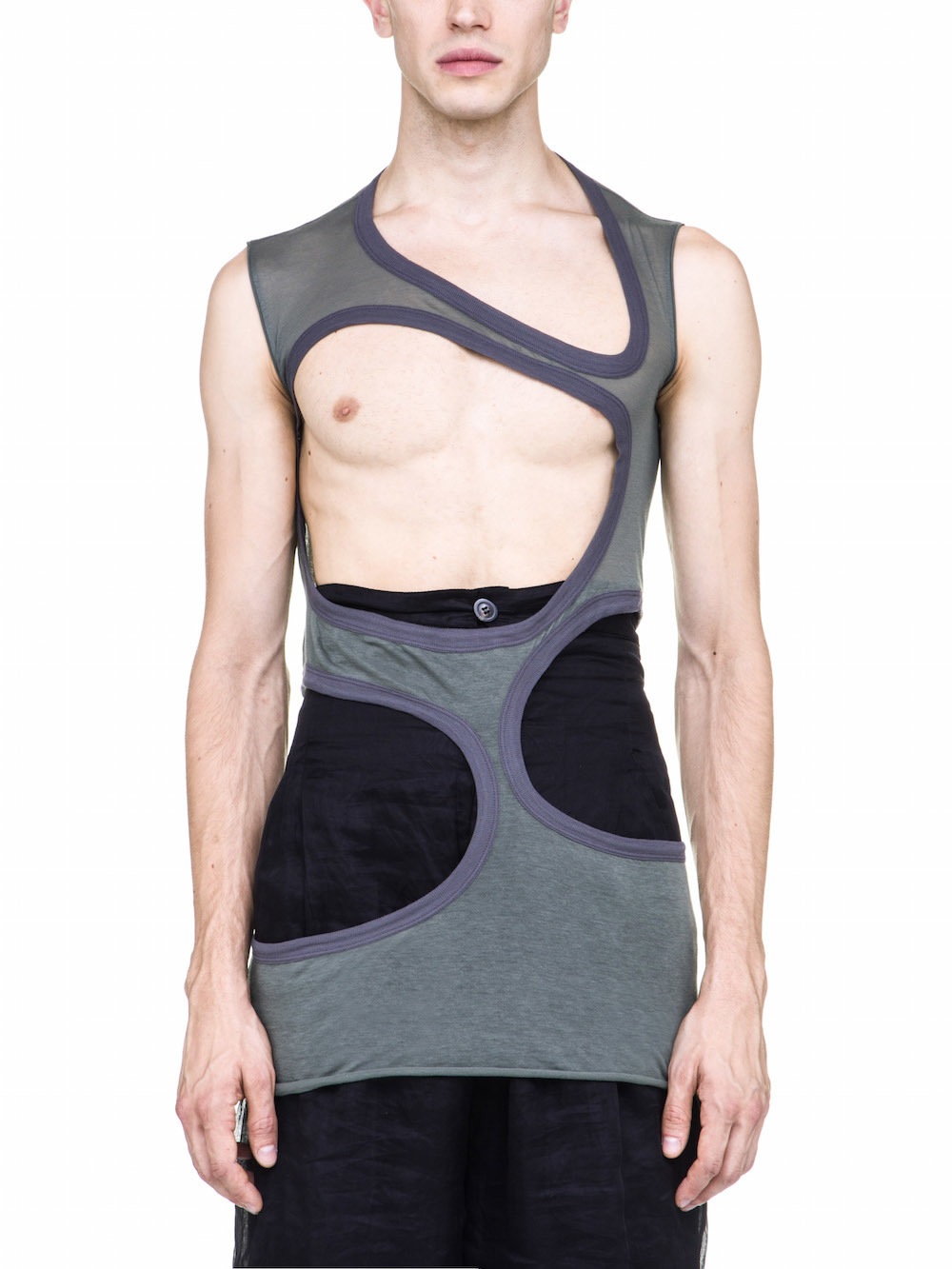 RICK OWENS OFF-THE-RUNWAY MEMBRANE III TOP IN SAGE GREEN