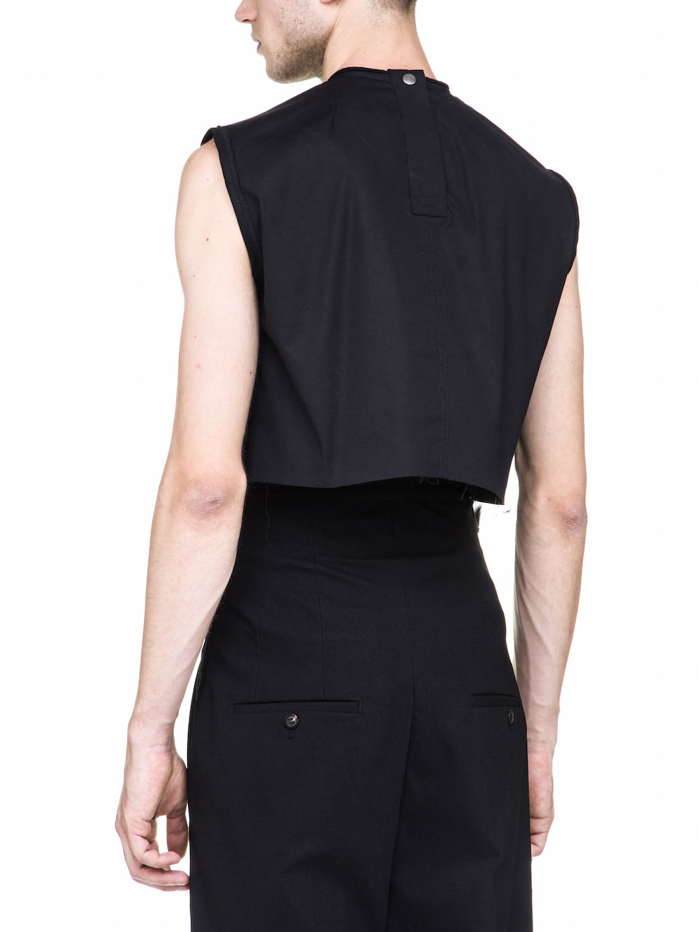 RICK OWENS OFF-THE-RUNWAY SUBHUMAN TOP SLEEVELESS IN BLACK