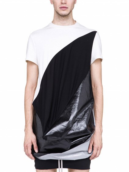 RICK OWENS OFF-THE-RUNWAY SUPERHUMAN TOP IN NATURAL WHITE AND BLACK