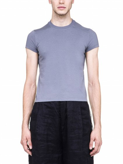 "RICK OWENS OFF-THE-RUNWAY SHORT LEVEL TEE IN ""BLU"" LIGHT GREY"