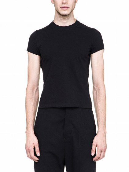 RICK OWENS OFF-THE-RUNWAY SHORT LEVEL TEE IN BLACK