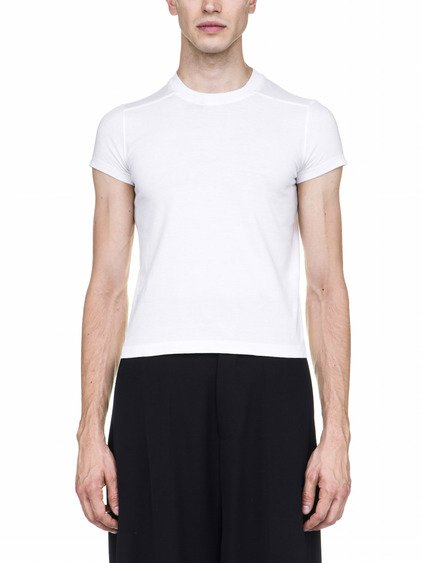 RICK OWENS OFF-THE-RUNWAY SHORT LEVEL TEE IN CHALK WHITE
