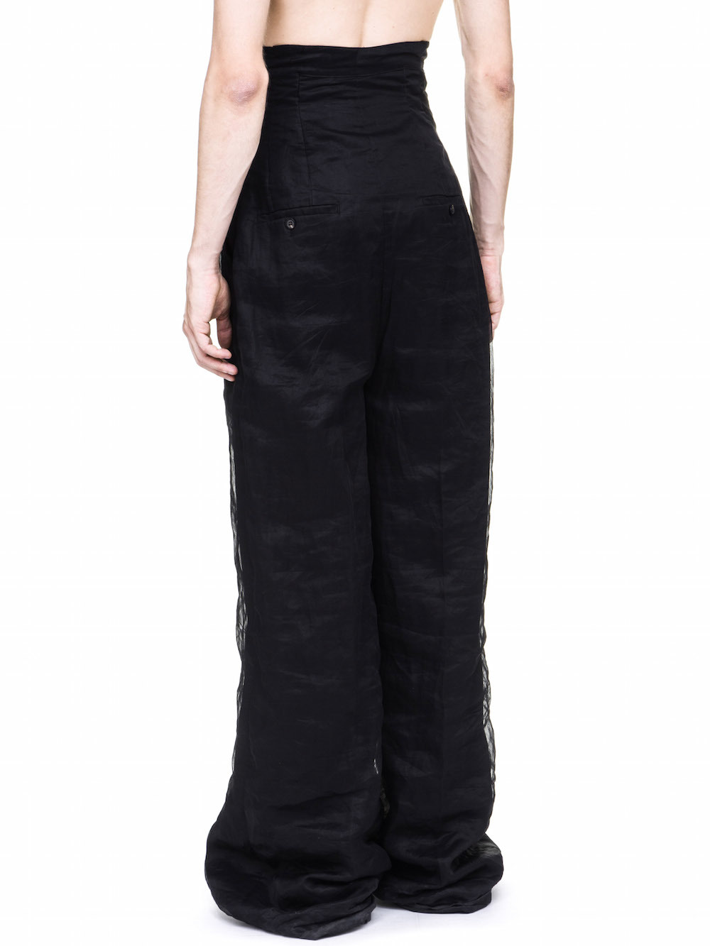 RICK OWENS OFF-THE-RUNWAY DIRT TROUSERS IN BLACK COTTON ORGANDIS