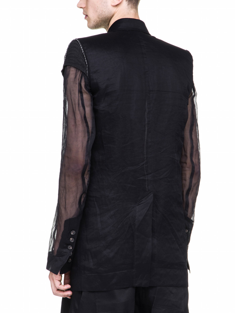 RICK OWENS BERGER JMF JACKET IN BLACK COTTON ORGANDIS