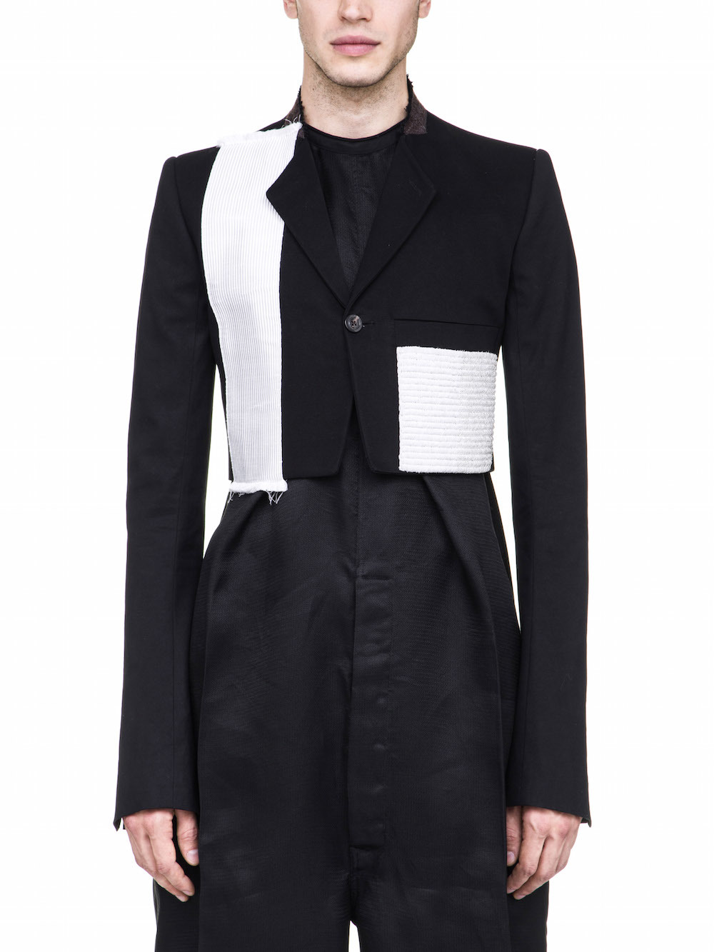 RICK OWENS MICRO TATCH JACKET IN BLACK FEATURES A SHORT LENGTH
