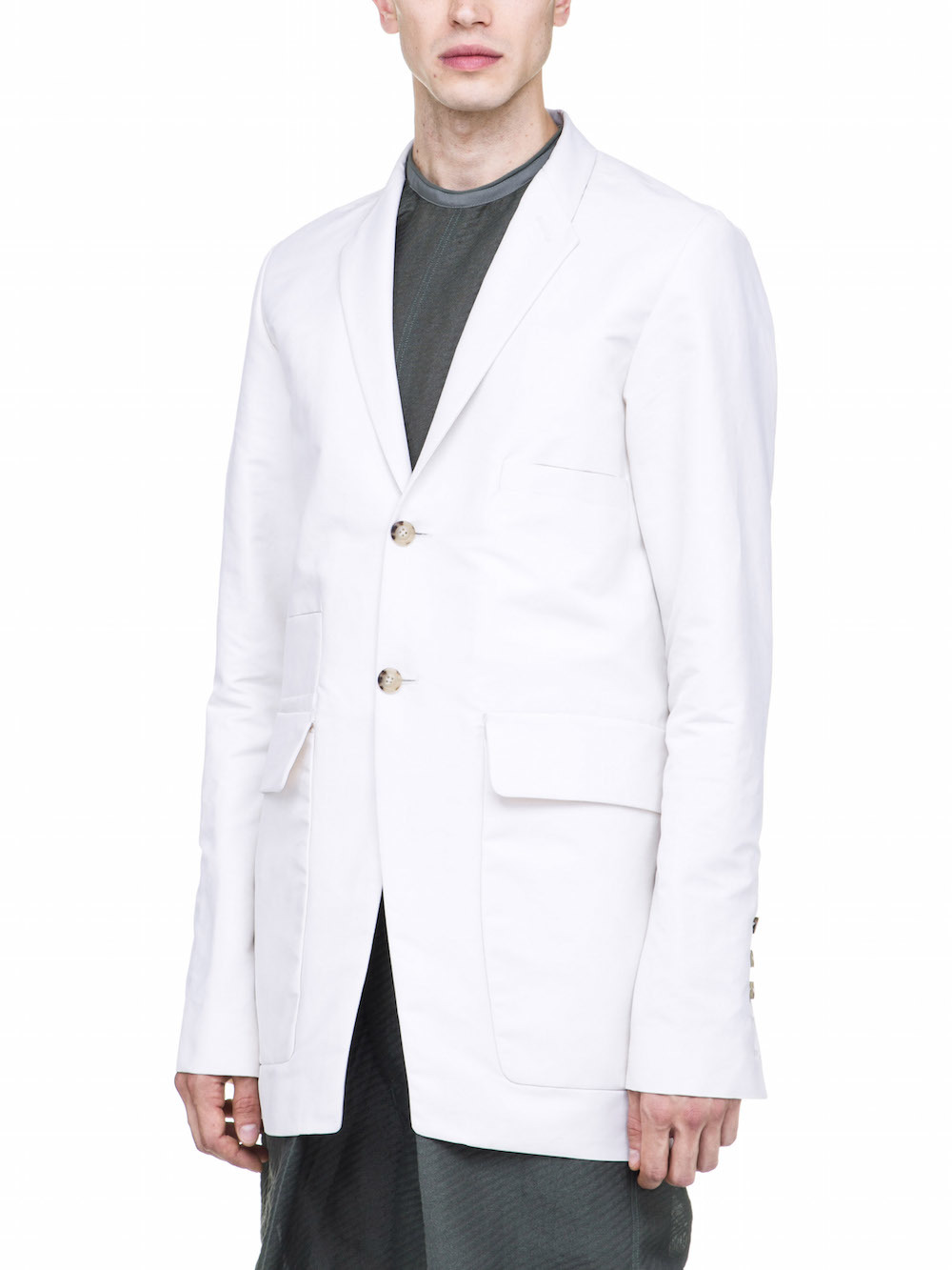RICK OWENS MULTIPOCKET 2 BUTTON JACKET IN WHITE