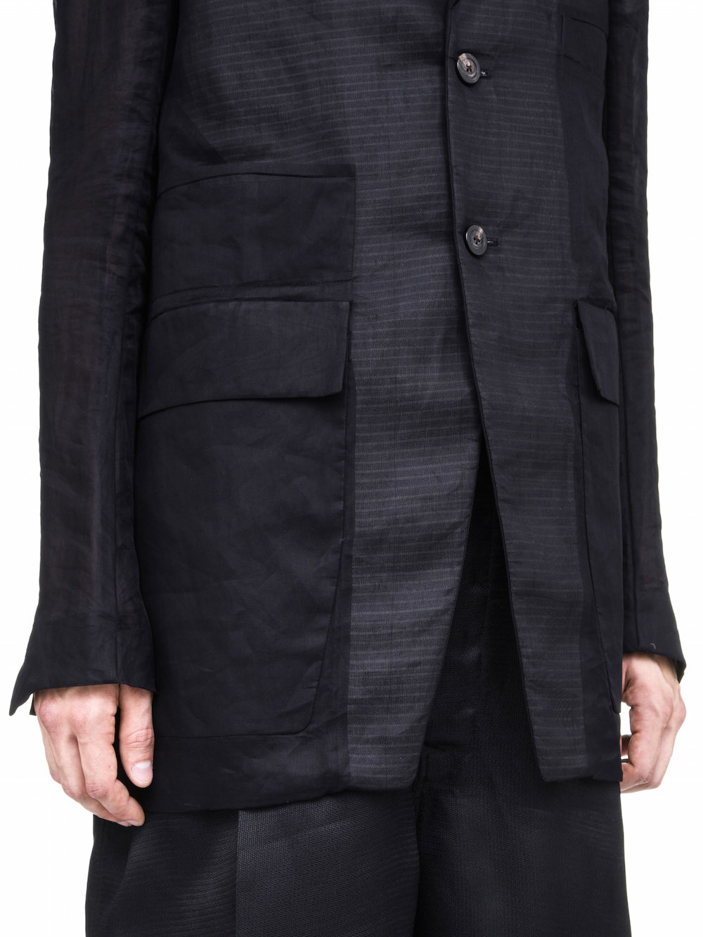 RICK OWENS MULTIPOCKET TAILORED JACKET IN BLACK COTTON