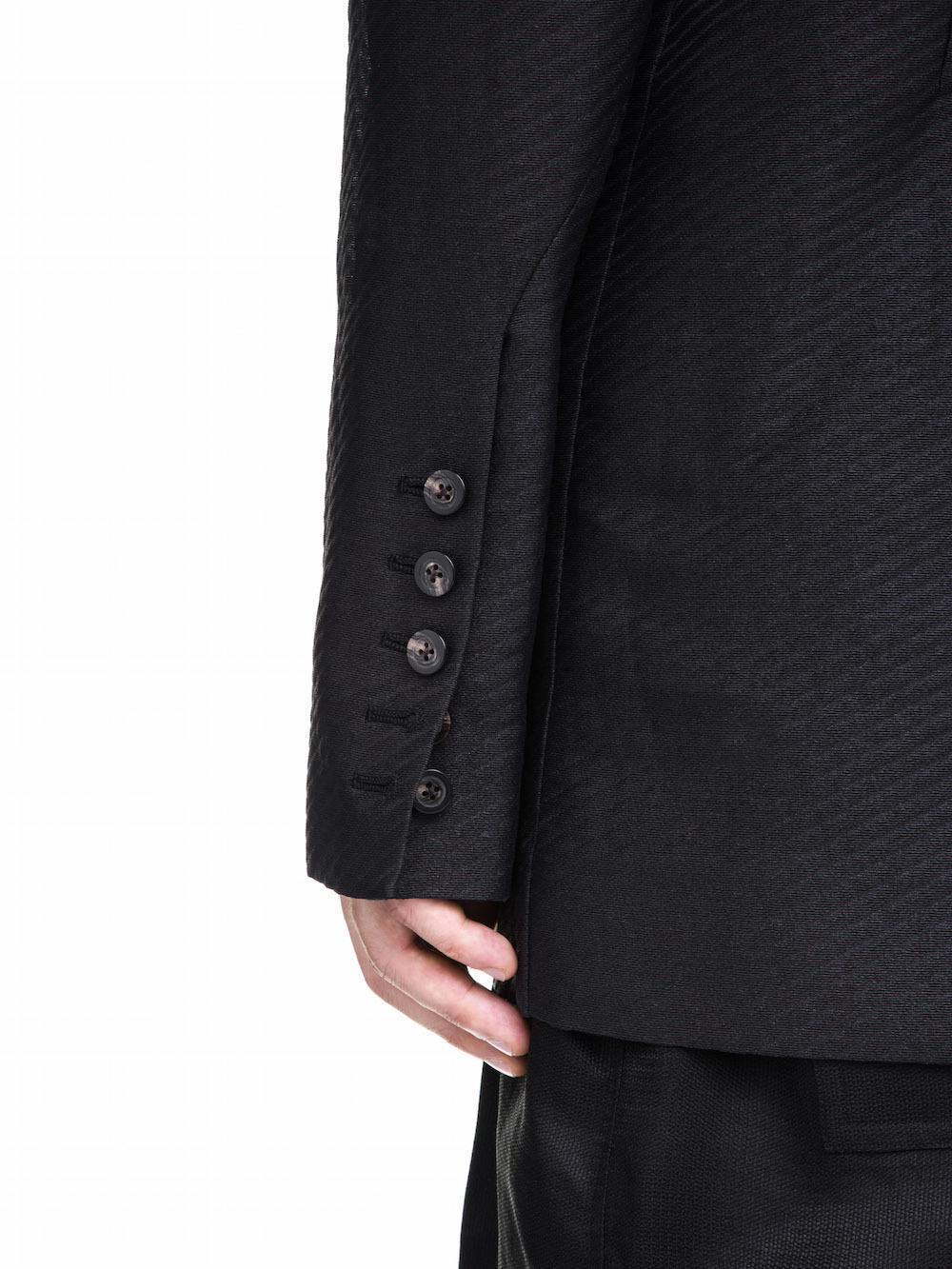 RICK OWENS  OFF-THE-RUNWAY TETCHPOCKET TWO BUTTON JACKET IN BLACK