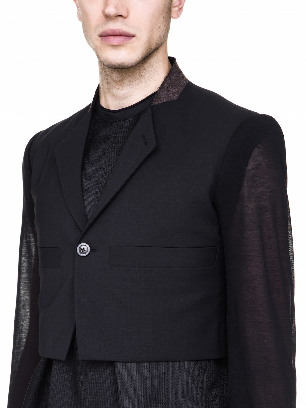 RICK OWENS OFF-THE-RUNWAY MICRO ONE BUTTON JACKET