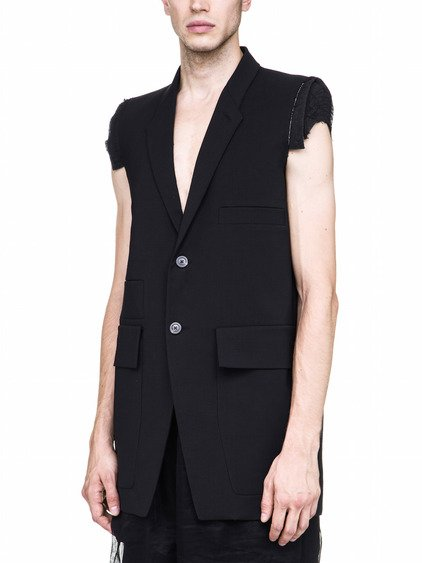RICK OWENS MULTIPOCKET TAILORED SLEEVELESS JACKET IN BLACK
