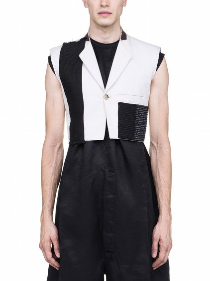 RICK OWENS MICRO TATCH SLEEVELESS JACKET
