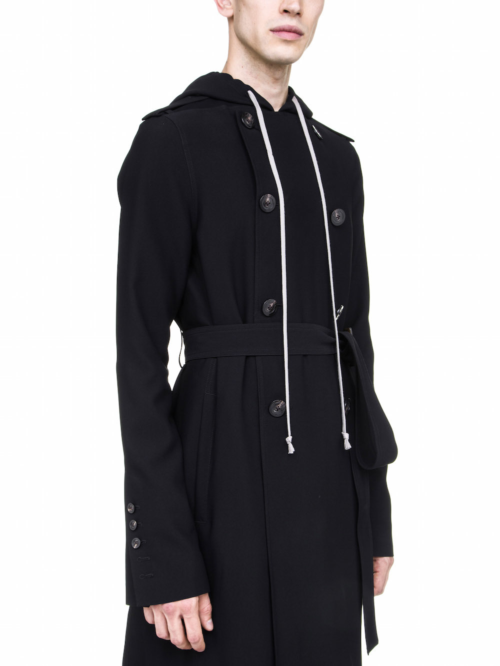 RICK OWENS OFF-THE-RUNWAY SOFT TRENCH IN BLACK