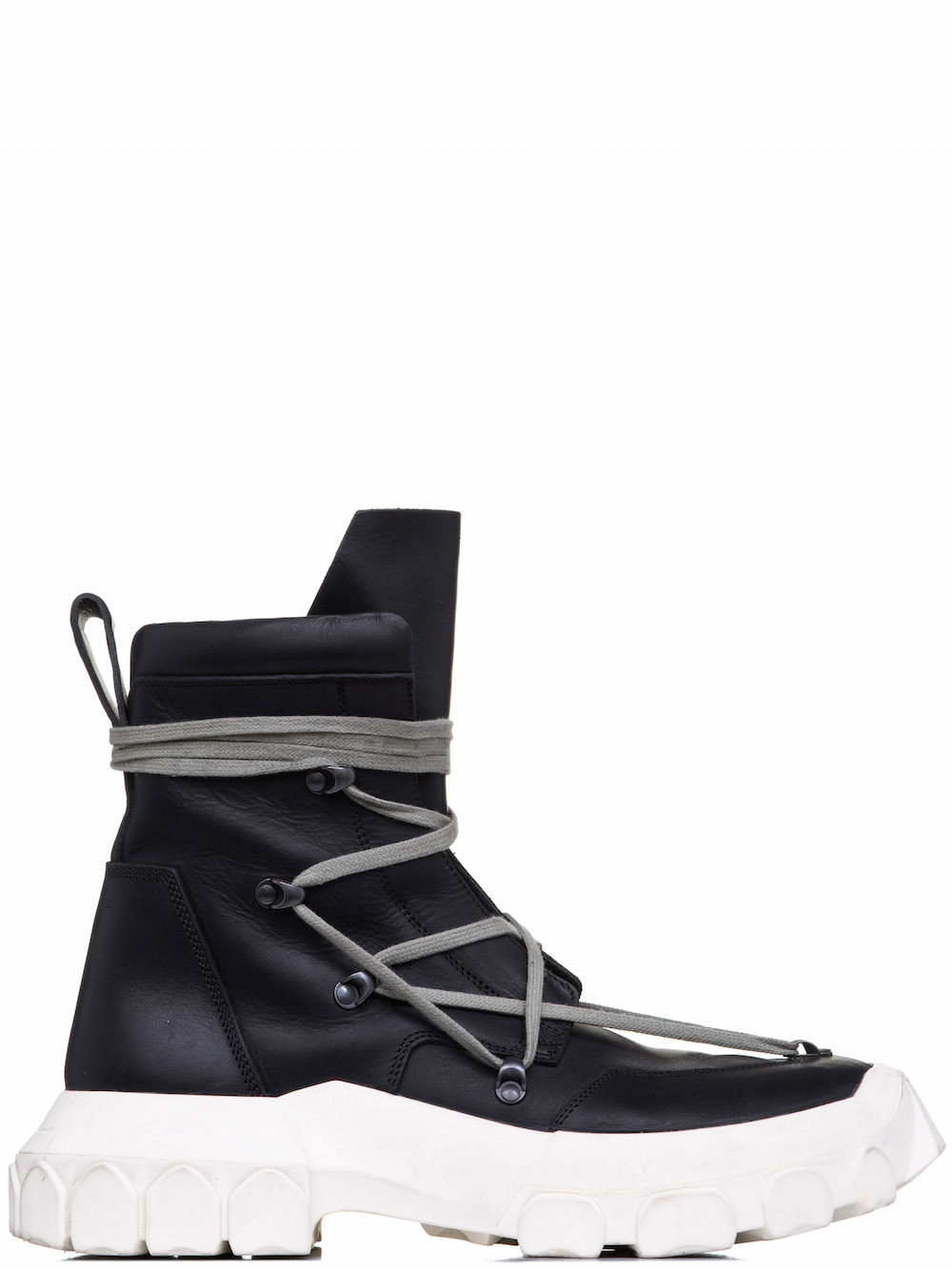 RICK OWENS OFFTHERUNWAY LACEUP HIKING BOOTS IN BLACK
