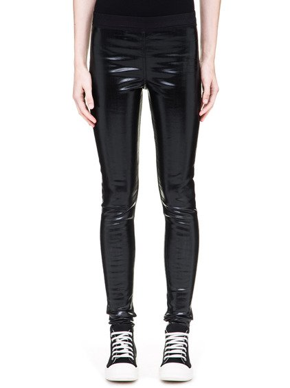 DRKSHDW SIMPLE LEGGINGS IN 10OZ STRETCH BLACK LACQUERED DENIM