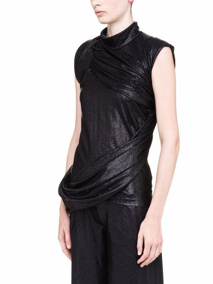 RICK OWENS LILIES BRANCH TOP IN BLACK LAME JERSEY