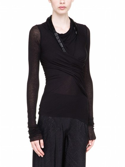 RICK OWENS LILIES LONGSLEEVED T-SHIRT IN BLACK REGULAR WEIGHT COTTON JERSEY