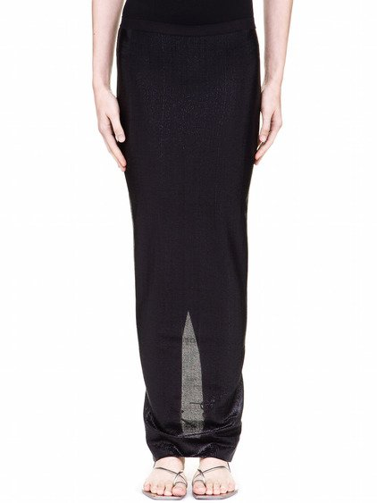 RICK OWENS LILIES SKIRT IN BLACK LAME JERSEY