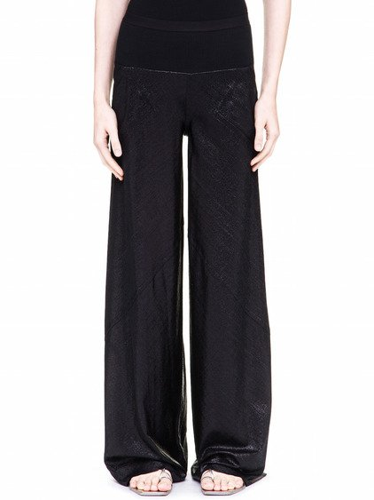 RICK OWENS LILIES PANTS IN BLACK LAME JERSEY