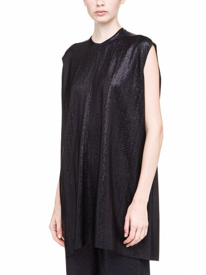 RICK OWENS LILIES TUNIC IN BLACK LAME JERSEY