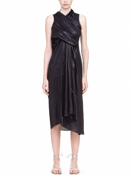 RICK OWENS LILIES TORNADO GOWN IN BLACK LAME