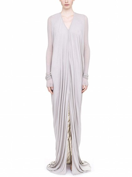 RICK OWENS LILIES LONG DRESS IN PEARL GREY