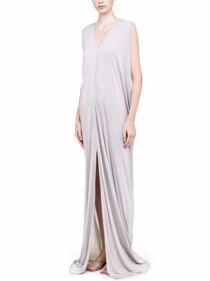 RICK OWENS LILIES SLEEVELESS V NECK GOWN IN PEARL GREY