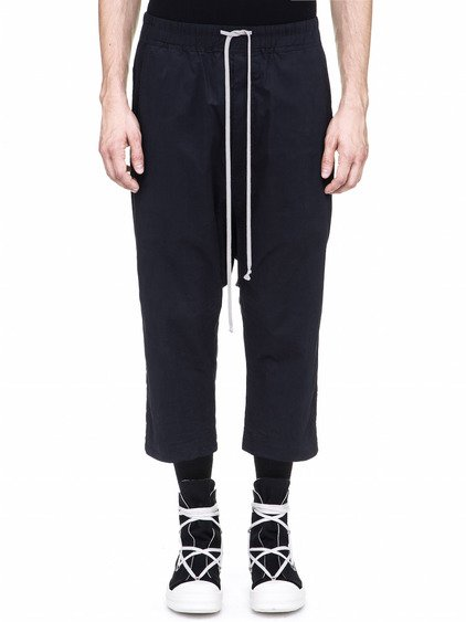 DRKSHDW DRAWSTRING CROPPED PANTS IN PASSPORT BLUE COTTON