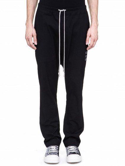 DRKSHDW DRAWSTRING LONG PANTS IN BLACK HEAVY-WEIGHT POPLIN
