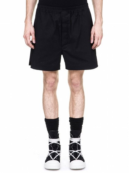 DRKSHDW BOXERS IN BLACK HEAVY-WEIGHT POPLIN HAVE A SHORT LENGTH