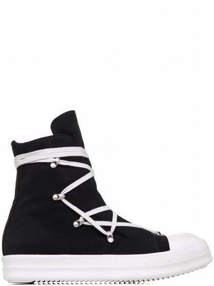 DRKSHDW HEXAGRAM SNEAKERS IN BLACK HEAVY CANVAS