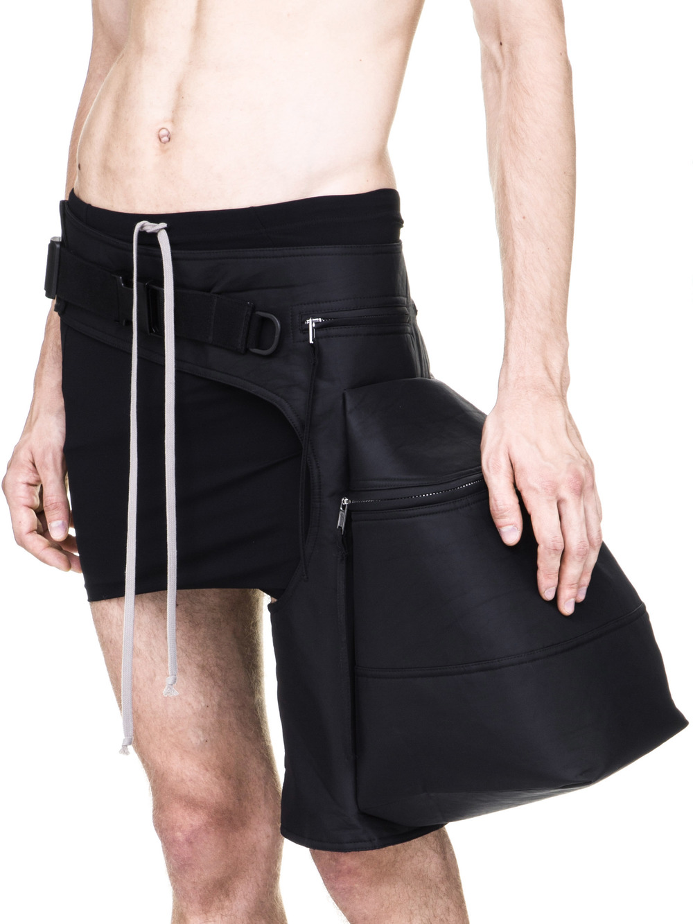 RICK OWENS OFF-THE-RUNWAY CARGO CHAP BAG IN BLACK TECH CANVAS