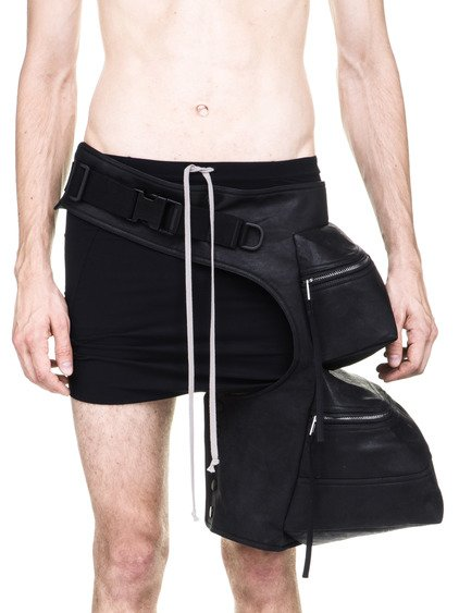 RICK OWENS OFF-THE-RUNWAY DOUBLE CARGO CHAP BAG IN BLACK