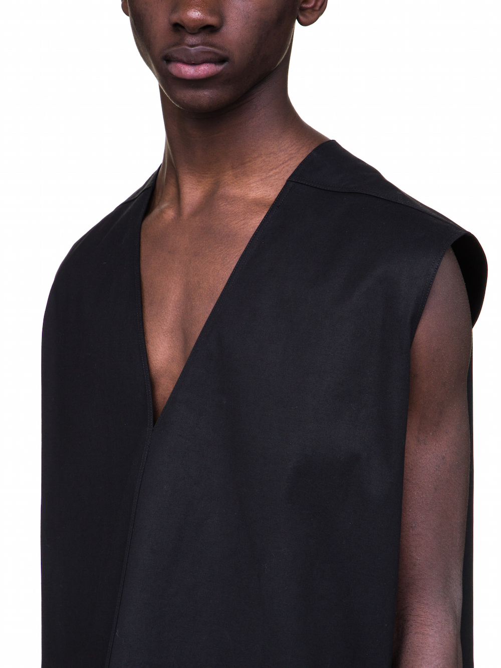RICK OWENS NECK JUMBO TOP IN BLACK