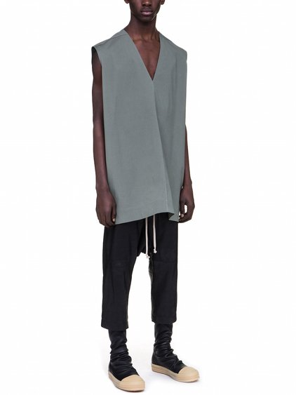 RICK OWENS V NECK JUMBO TOP IN SAGE GREEN