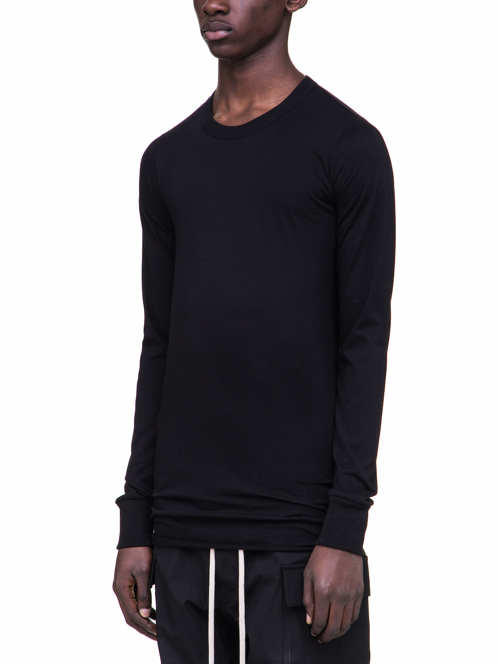 RICK OWENS BASIC LONG SLEEVES IN BLACK COTTON
