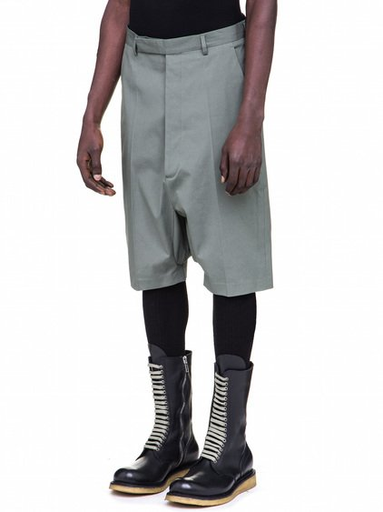 RICK OWENS TAILORED PODSHORTS IN SAGE GREEN