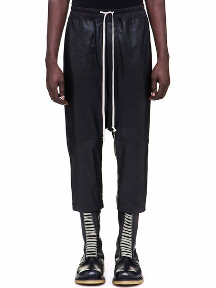 RICK OWENS  DRAWSTRING CROPPED PANTS IN BLACK GLOSSY