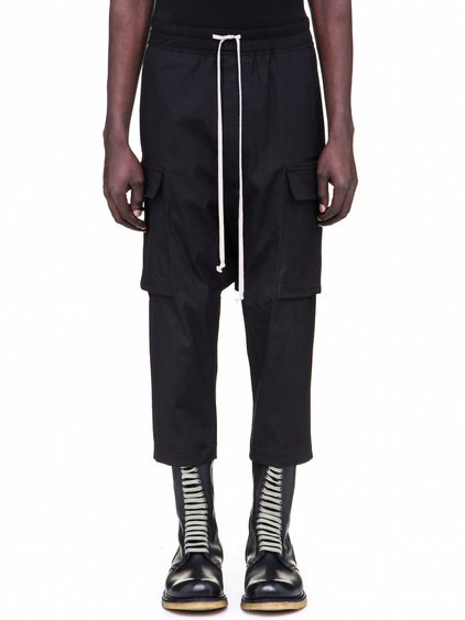 RICK OWENS DRAWSTRING CARGO CROPPED PANTS IN BLACK