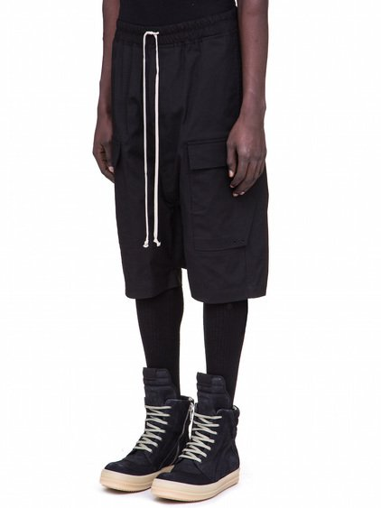 RICK OWENS DRAWSTRING CARGO PODS IN BLACK