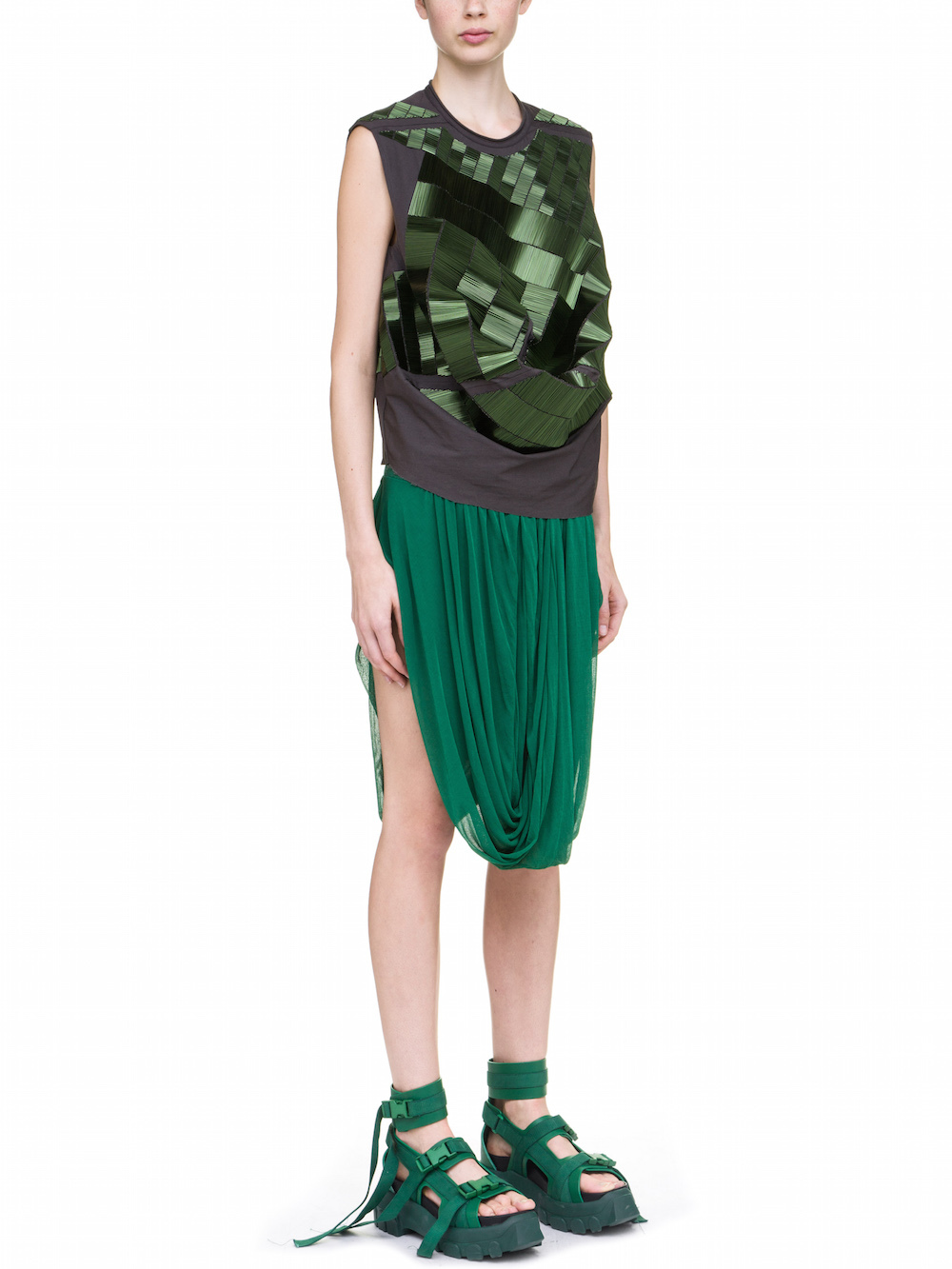 RICK OWENS SUBHUMAN TOP Y COVERED BY SAGE GREEN BUGLE BEADS